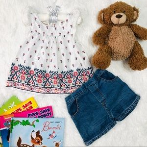 Toddler Floral & Denim Set